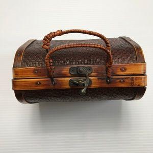 Vintage Wooden Clamshell Woven Mini Handbag